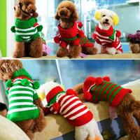 كلب الملابس عيد الميلاد مخطط سانتا سترة اللباس الشتاء الملابس الدافئة للحصول على الكلب حيوان أليف الكلب ثلاثة ألوان الملابس سترة