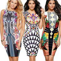 Новые дамы лето Dress женщины Sexy печати dress тонкий леди спинки юбка карандаш dress женщины женская рубашка платья Dashiki Clothing Vintage