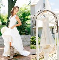 Rústico Vaquera Botas de encaje vestidos de novia Boho país vestidos de novia apliques vestidos de boda con cuello en v Bohemia vestidos de novia por encargo 2018