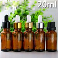 Tragbare 20 ml Braunglas-Tropfflaschen 5 Stile Kappe Ätherisches Öl Tropfflasche 20 ml Kleine parfümbraune Fläschchen