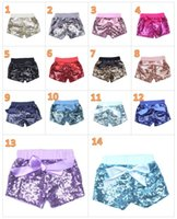 Toddler baby sequins shorts for summer girls satin bowknot s...
