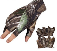 Professional Fishing Gloves Outdoor Sports Camo 3 Fingers Cu...