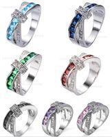 Envío Gratis Moda de Alta Calidad 925 Joyas de Diamante de Plata Corazón Zircon Anillo de Cristal Día de San Valentín Regalos de Navidad HJ221