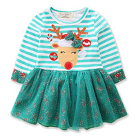 Dual Fabric Dress for Girls Christmas Patchwork Striped Bow ...