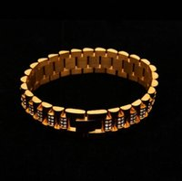 Gold Color 15mm Wristband Link Bracelet Full Iced Out Rhines...