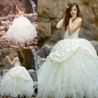 Ivory Ball Gown Flower Girl Dresses For Wedding Lace And Tul...