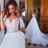 Milla Nova Dubai Lace Brautkleider Cap Sleeves Elfenbein Lace Plus Size Brautkleider Novia Covered Button Brautkleider