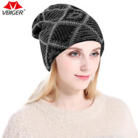 Vbiger Unisex Slouchy Beanie Warm Knitted Skull Cap Lined Sk...