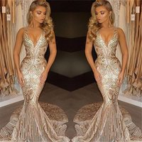 2019 New Luxury Gold Prom Dresses Mermaid V Neck Sexy Africa...