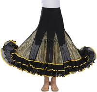 Whitewed Quickstep Folklorico Balo Jive Pratik Etek Waltz Dans fırfır Glitter Uzun Latin Waltz Balo Dans Çember Tango Kostümleri
