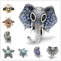 Noosa Chunks Metal Ginger Snap Jewelry owl Elephant 18mm sna...