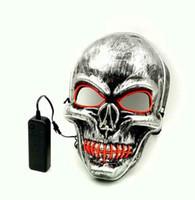 Светодиодные Хэллоуин Маска светодиодные маскарадные маски светящиеся призрак череп Маска танцы анфас Маска Hallowmas вечеринок 6 шт.