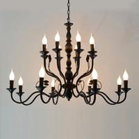 أسود خمر مصباح المنزل الحديثة أدى الحديد الفن مصابيح 12/16/20 headsChandelier بريقا الثريات أضواء e14 خمر الجدة الإضاءة