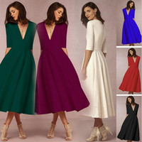 Sıcak satış Yaz Kadın seksi Tulumlar Balo Elbise Düğün Güst Elbiseler Şifon V Boyun yarım kollu tek parça elbise