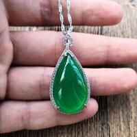 Tipo di acqua calcedonio ghiaccio naturale verde goccioline oggetti in argento catena pendente verde smeraldo agata pietra preziosa per le donne