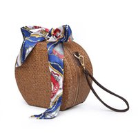 AFBC Round Rattan Bag Woven Straw Purse Circle Handmade Wick...