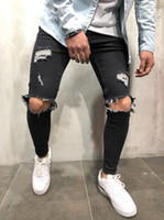 Black Spring Summer Jeans Men Holes Ripped Jean Pencil Pants...