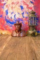 Abstracto azul rojo Acuarela Pared Fotografía Telones de fondo Impreso cobre estatua Vintage Linterna Bebé Niños Photo Shoot Fondo Piso de madera