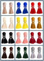 9.5cm Vintage 12 цветов хлопок Многослойной Woven кисточки серьга Смола Люстра Богемия Punk Этнические Висячие узлы для женщин
