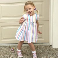 2018 New Arrival Baby Girls Dresses Children Rainbow Printed...