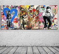 3 패널 Banksy Collage 낙서 예술 - Chaplin, 현대 캔버스 유화 인쇄 벽 장식 장식 거실 장식 프레임 / Unframed