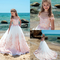 Flower Girls Dresses With Half Sleeves Lace Appliques Sash C...