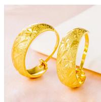 Vintage 18K Yellow Gold Filled trendy Leverback ear Hoop Earrings For Womens