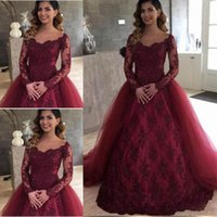 Latest Wine Red Long Sleeve Quinceanera Dresses Lace Up Back...