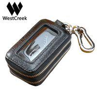 Westcreek echtes Leder-Mann-Doppelt-Reißverschluss-Auto-Schlüssel-Mappen Frauen Minimalist Schlüsselhalter Mode Haushälterin Keychain