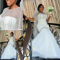 Incredibile Plus Size Abiti da sposa Cappuccio Style Mermaid Abiti da sposa in rilievo Tulle Piano Piano Lunghezza South Africano Matrimonio Vestidos su misura