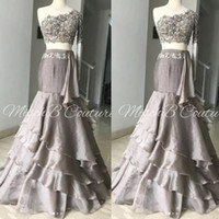 Two Pieces Prom Dresses One Shoulder Lace Top And Chiffon Sk...