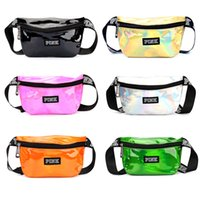 Pink Laser Waist Bags Women Hologram Rainbow Fanny Pack 6 Co...
