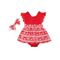 Summer Baby Girl Party Lace Romper and Headwear Christmas Pr...