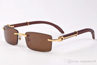 Occhiali da sole da uomo classici in legno di corno di bufalo classico Francia occhiali da sole rettangolari senza montatura occhiali da sole lunettes de soleil con scatola originale 11 colori