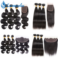 8A Brazilian Virgin Hair Straight Body Wave 3 Bundles With 1...
