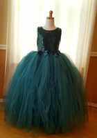 Hunter Green Pageant Dresses For Little Girls Ball Gown Flow...