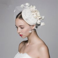 Alta qualità Bellissima Birdcage Church Derby Cocktail Wedding Bridal Bridal Flowers Pillbox Hat Veil Cap Band Band Headpiece Fascinator