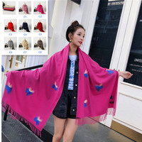 Winter Cashmere Scarf For Women Red Butterfly Print Large Sh...