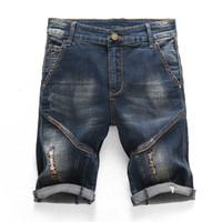 Newsosoo Moda Yaz erkek Yırtık Kısa Kot Delik Slim Fit Ile Düz Sıkıntılı Denim Kısa Erkekler Diz Boyu