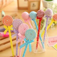 6 stks / partij nieuwigheid plastic kawaii snoep kleur pennen vorm bal punt lollipop balpen schattige briefpapier schoolbenodigdheden
