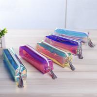 Cassa di matita trasparente laser cancelleria sveglia nappe sacchetto della matita cosmetico di trucco del sacchetto per le donne con nappe cerniera per Ufficio Scolastico Viaggi