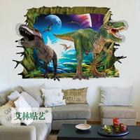 3D Durch Wand Dinosaurier Zeit Originalität Wohnzimmer Schlafzimmer Einrichtungs Ornamente Wasserdichte Wandaufkleber