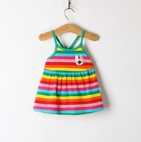 2018 Summer Girls Cotton Cute New Baby Striped Sling Dress Girls Clothes Slip Infant Dresses For Princess Birthday Sale Hot