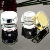 Leere Gläser achteckige Goldsilber-Acrylplastik-kosmetische Creme-kleine Körperpflege-Behälter 5g 10g für Probenverpackung 90pcs
