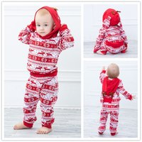 New Christmas Reindeer Horns Red Hoodies Outfits Baby clothi...