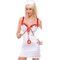 Tam Set Kadın Lingerie Seksi Erotik Kostümleri Hemşire Cosplay Üniforma Dantel Sling göğüs crossband Iç Çamaşırı Erotik Iç Çamaşırı