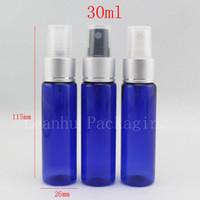 A garrafa plástica da cor 30ml X 50 azul com a bomba de alumínio do pulverizador do perfume, 1oz esvazia garrafas de empacotamento cosméticas com porcelana do pulverizador