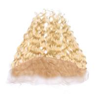 Humide et Ondulé # 613 Blonde 13x4 Full Lace Frontale Fermeture Pas Cher Vague d'Eau Brésilienne Blonde Vierge Cheveux Humains Oreille à L'oreille Frontaux de Dentelle