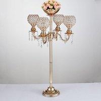 89 Tall Ile 5 Arms Kristal Candelabras Düğün Şamdan Güzel Çiçek Kase Metal Mum Sopa Parti Olay Dekor