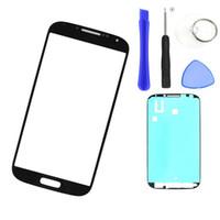 Branco Preto Outer lente de vidro Para ferramentas samsung S4 i9500 I9505 toque LCD de tela frontal de vidro exterior Painel + adesivo autocolante